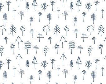 LAGOM - Stick Forest Outlined-  by AGF Studio for Art Gallery Fabrics LAM-54290 - Blue