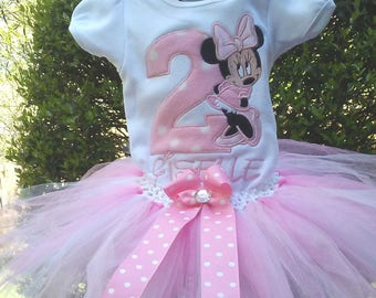 Pink Minnie Mouse 2nd Birthday Outfit Minnie Mouse Birthday Shirt Minnie Mouse Birthday Outfit Minnie Mouse Girls Birthday Outfit Shirt