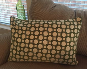 Vintage Mid-century Retro Avocado Green Granny Throw Couch Pillow