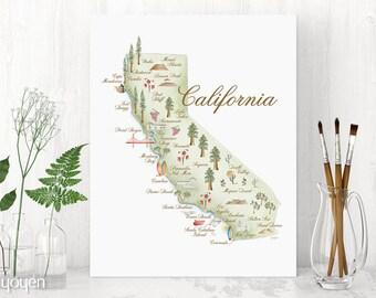 California Watercolor Map Print. State Pride Print. Map Print Gift Idea. Home Decor.