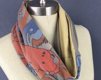 Koi Print Eternity Scarf - Animal Circle Scarf - Handmade - One of a Kind - Beige n Gold print scarf,  cotton from Upcycled T shirt Graphics