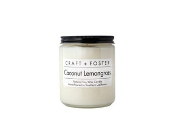 Coconut Lemongrass Natural Soy Wax Candle- 8oz Jar