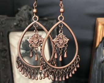 dangle earrings copper classy - ethnic - boho - Bohemian