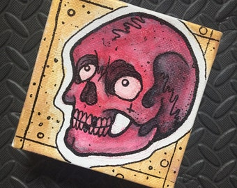 """SALE!! Neotraditional Skull Tattoo Original Painting by Kevin Thrun - Acrylic Thick Canvas - 4""""x4"""""""