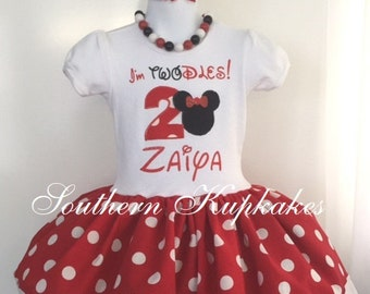 MINNIE MOUSE Twodles 2nd Birthday Disney Inspired Twirl Dress Birthday Custom BOUTIQUE Party All Sizes Red White Black Todles Toodles