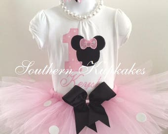 Boutique Light Pink MINNIE MOUSE Inspired Tutu Pettiskirt Pageant Birthday Party Nwt New All Sizes Custom 3pc. Set Vacation Summer