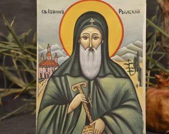 Vintage hand painted icon - Orthodox icon Saint Ivan Rilski - St Ioan of Rila - Christian Religious Icon