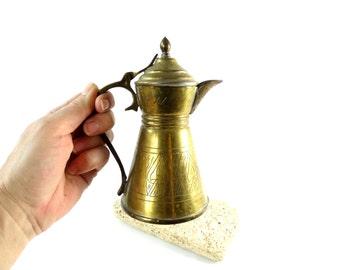 Small Indian Pitcher - Brass Water Pitcher -  Brass Coffee Pot - Coffee Pitcher - India Pitcher - Brass Carafe - Brass Pot