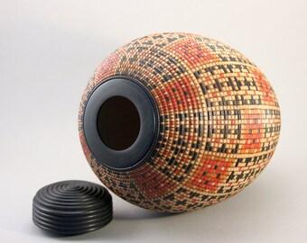 Tall Basket Pattern Lidded Vessel