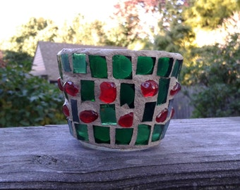 Stained Glass Mosaic Votive Candle Holder Created in Sparkling Hand-cut Green Stained Glass with Red Glass Pebbles! BEAUTIFUL!