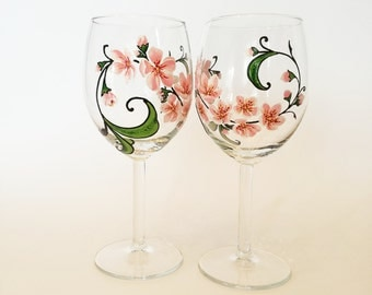Bridesmaid Gift Idea Set of 2 Hand Painted Wine Glasses Wedding Glass Wine Glassware Holiday Glasses Pink Cherry Blossom Wedding glasses