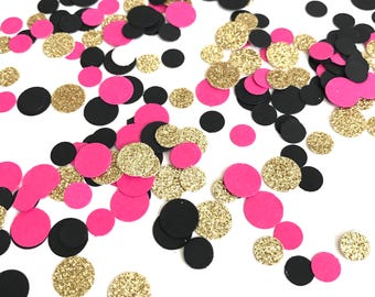 Pink, gold, and black Confetti | Round Confetti | Glitter Confetti | Party Decor | Shower Decor | Table Decor | Balloon Confetti |  par