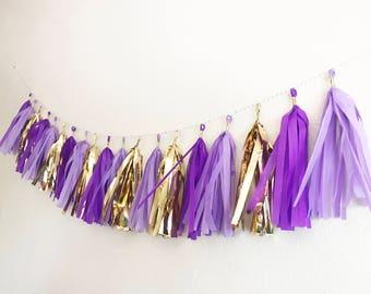 Tassel Garland | Tassel Banner | Purple ans Gold Tassel Garland | Purple and Gold Party Decor | Purple | Violet | Lavendar | Gold | Party