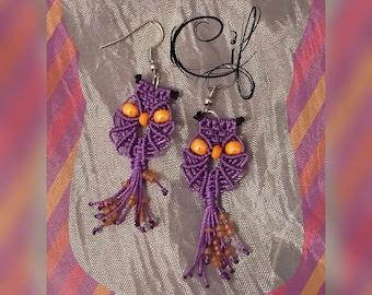 Owls macramé Earrings-Custom