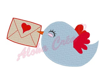 Machine Embroidery Design bird with love letter - Instant Digital Download