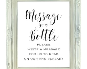 Message in a Bottle, Write A Message for us to Read on our Anniversary, 8x10 Digital Printable Sign, Instant Download, Wedding Sign