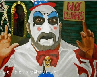 """Captain Spaulding original canvas art """"No Clowns"""" Devil's Rejects House of 1000 Corpses Sid Haig 12x9"""