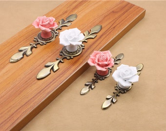 Ceramic Rose Knob Dresser Knob Pull Drawer Knob Pull Door Knob Back Plate Cabinet Handle Pink White Cupboard Handle Backplate Decorative