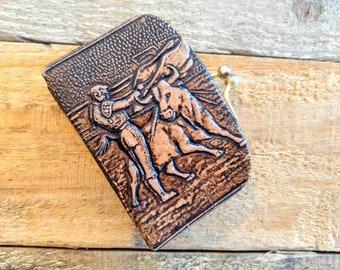 VERY UNUSUAL Little Tooled Leather Vintage Coin/Change Purse of a Matador and Bull with Floral Leaf Design-All Orders Only 99c Shipping!!