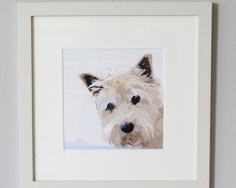 Westie by the Sea Framed Print