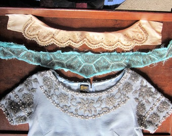 3 Vintage Beaded Collar's removed from old clothing great for re-use