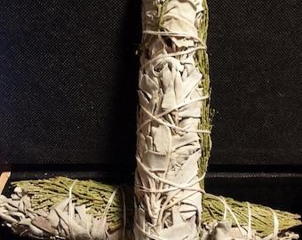 "White Sage and Cedar- Smudge Stick- Large 8-9"""