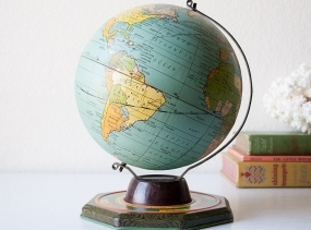 Vintage tin globe J Chein world map zodiac seasons metal globe horoscope