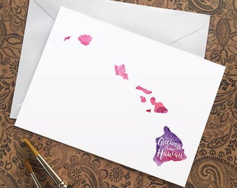 Hawaii Watercolor Map Greeting Card, Greetings from Hawaii Hand Lettered Text, Gift or Postcard, Giclée Print, Map Art, Choice of 5 Colors