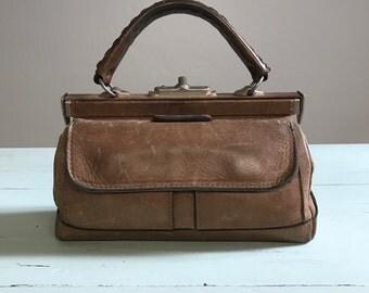 SALE: French Vintage Leather Apothecary Bag / Genuine Tan Leather Doctor Bag / Top Handled / Leather Purse / Handbag / France / Vintage
