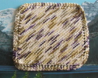 Hand knit dish cloth 7.5 by 7.5 KDC 002