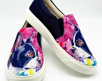 BOSTON TERRIER SHOES!! Boston lovers, dog lovers, dog breeds, women shoes.