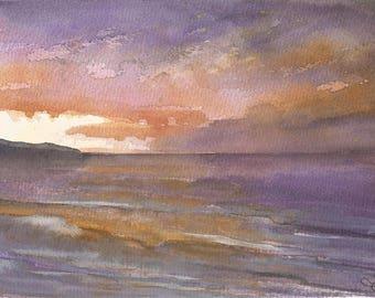 Sunset | original painting | gouache | watercolour | sunset | sea painting | sky | sea | purple | Tracy Butler