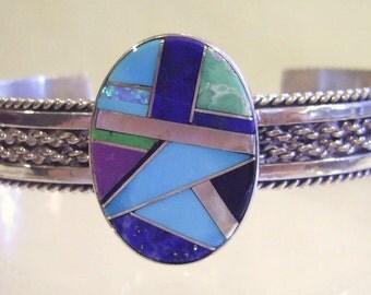 Vintage TAHE Navajo Sterling Braided Rope Cuff BRACELET Turq Lapis Mosaic MEDALLION 32 grams *Free Shipping*