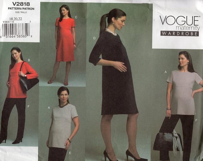 Vogue 2818 Maternity Wardrobe Dress Tops Skirt Pants Uncut 18 20 22 Bust 40 422 44 plus size Sewing Pattern Free Us Ship Uncut Out of Print