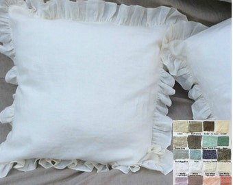 Ruffle pillow covers, linen ruffle pillow covers, accented pillow covers, sham covers, pillow protector, over 41 colors, Custom Size