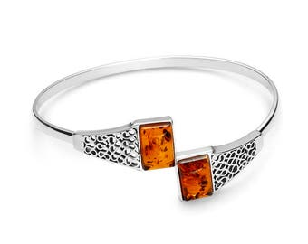 Bracelet in amber of the Baltic on silver