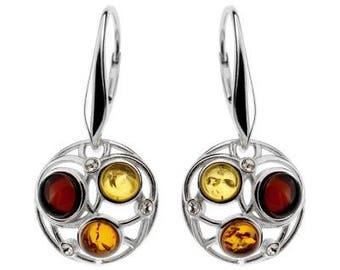 Earrings in amber multicolored on silver.