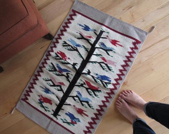 Vintage bird tapestry, wall tapestry, bird textile, wall hanging, vintage rug