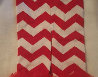 4th of july baby girl, baby boy red and white chevron ruffle leg warmers