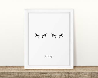 Sleep - Eyelashes - Nursery Print - Children's Wall Art - Baby Nursery Decor - Kids Room
