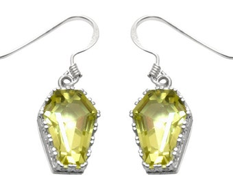 Coffin Earrings 10ct Natural Gold Green Quartz Solid Silver