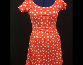 Minnie Mouse Inspired Cap Sleeve Skater Dress MADE TO ORDER (4 week Processing time)