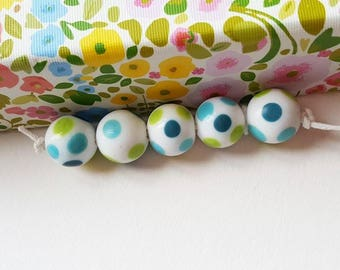 Polka Dot Beads - Glass Beads - Lampwork Beads - Spotty Beads - Spring Summer - Blue Beads - Round Beads - Bead Set - Lampwork Glass - UK