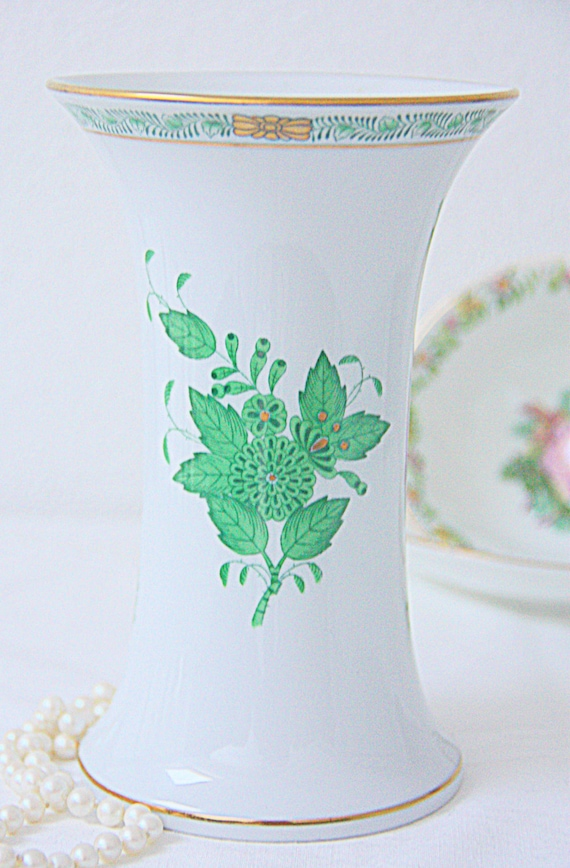 Vintage Herend Vase, Chinese Bouquet Green, Handpainted, Hungary
