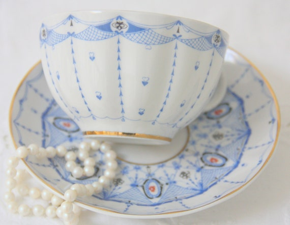 Vintage Lomonosov Large  Porcelain Teacup and Saucer, Blue Hearts and Graphic Pattern, Russia