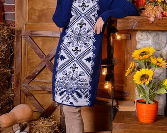 For New Year knitted dress from Ukraine with love for you, wool 30 %