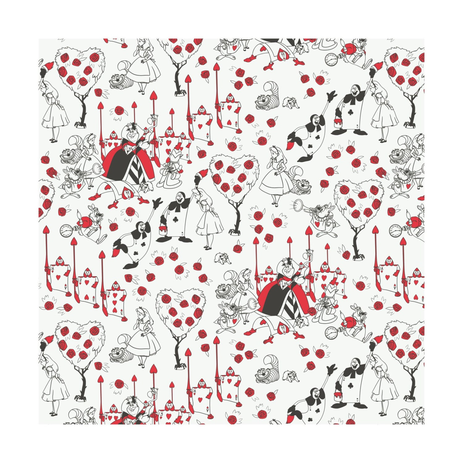 alice in wonderland queen of hearts painting the roses red