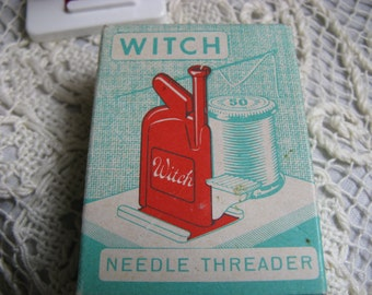 Vintage Witch Needle Threader~~1950's Western Germany Witch Needle Threader in Original Box