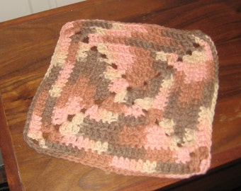 Granny Smith Crocheted Dish Cloth of Oranges and Browns