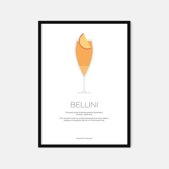 Bellini Cocktail Print Cocktail Art Cocktail Recipe